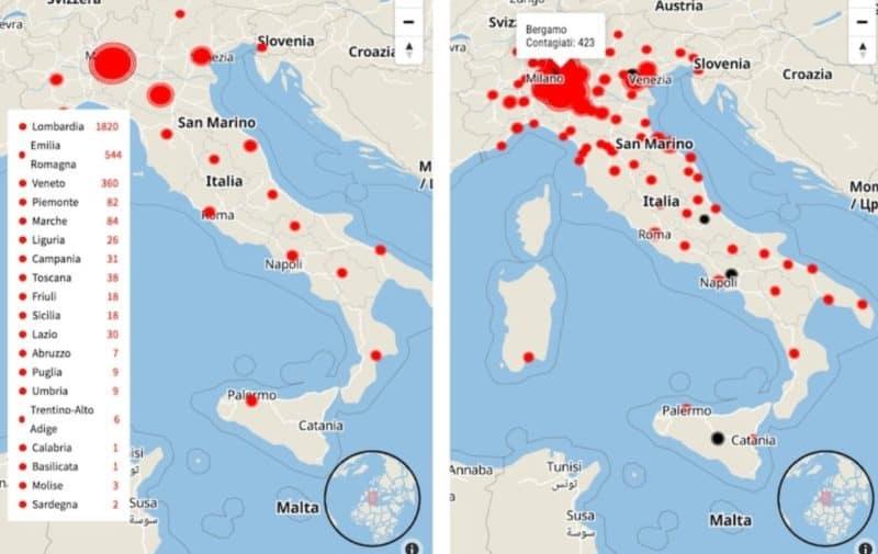 harta coronavirus italia